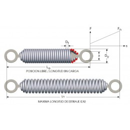 Muelle de tracción con anillas matrizadas M09LE3828