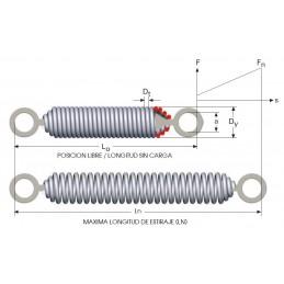 Muelle de tracción con anillas matrizadas M09LE3850