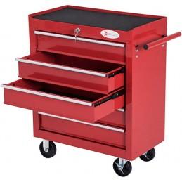 Durhand caja taller carro de herramientas con ruedas cerradura tipo mueble de almacenamiento para taller garaje 69x33x77.2 rojo