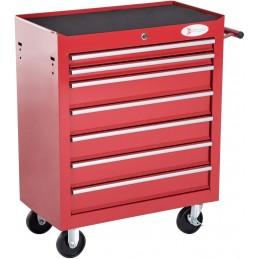 Durhand carro de herramientas con 7 cajones caja cerradura ueble de almacenamiento para tallerchapa de acero 69x33x77.2cm rojo