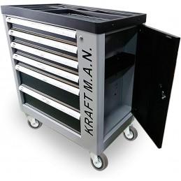 Carro de taller profesional con herramientas 245pzs incorporadas, ruedas, armario lateral, cierre de seguridad en cada cajón